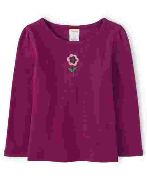 Girls Long Sleeve Embroidered Flower Top - Every Day Play