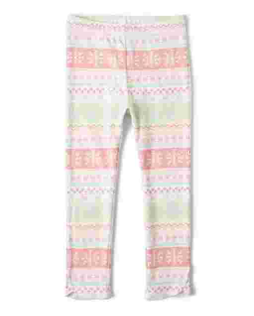 Girls Snowflake Fairisle Knit Leggings - Snow Princess
