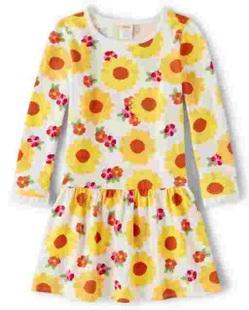 Girls Long Sleeve Flower Print Knit Peplum Dress - Every Day Play