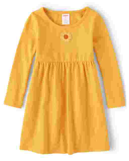 Girls Long Sleeve Embroidered Sunflower Knit Dress - Every Day Play