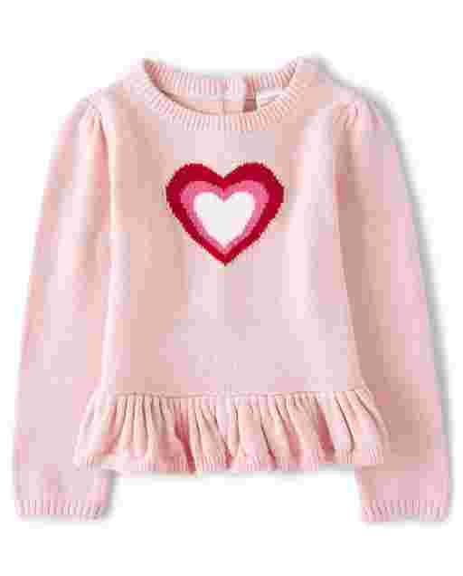 Girls Long Sleeve Heart Peplum Sweater - Valentine Cutie