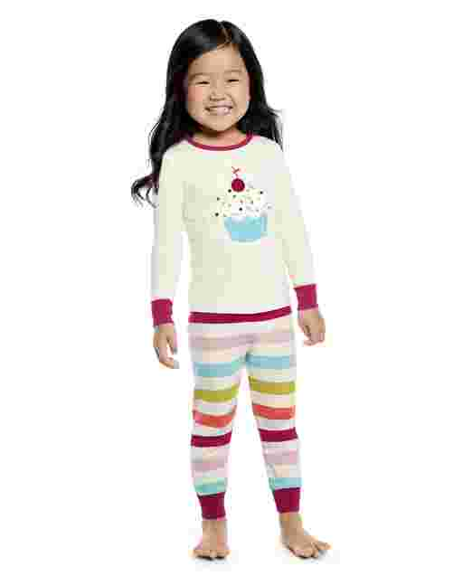 Girls Long Sleeve Cupcake Snug Fit Cotton 2-Piece Pajamas - Gymmies
