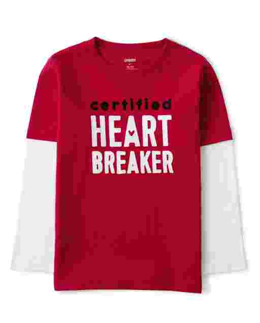 Boys Long Sleeve Embroidered 'Certified Heart Breaker' 2 In 1 Top - Valentine Cutie