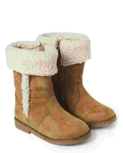 Girls Quilted Faux Suede And Sherpa Tall Boots - Winter Wonderland