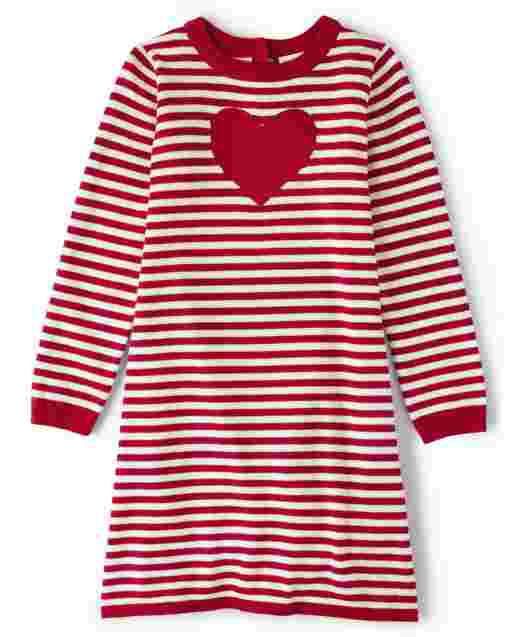 Girls Long Sleeve Embroidered Heart Striped Sweater Dress - Valentine Cutie