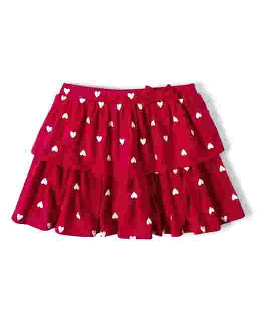 Girls Heart Print Knit Tiered Skort - Valentine Cutie