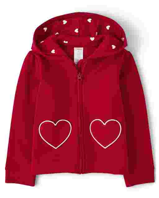Girls Long Sleeve Heart Fleece Zip Up Hoodie - Valentine Cutie