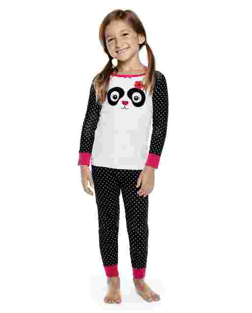 Girls Long Sleeve Panda Party Snug Fit Cotton 2-Piece Pajamas - Gymmies