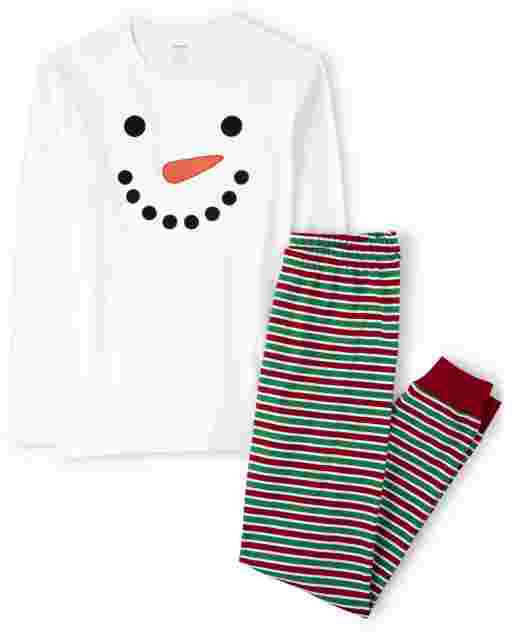 Unisex Adult Matching Family Long Sleeve Snowman Cotton 2-Piece Pajamas - Gymmies
