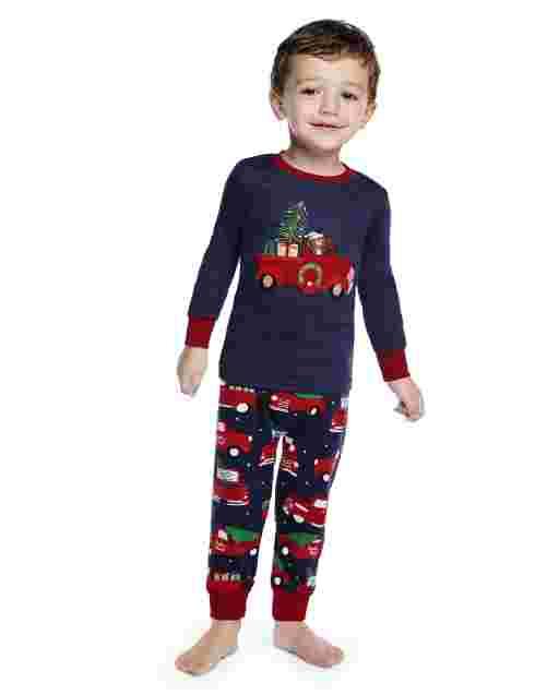 Boys Long Sleeve Holiday Truck Snug Fit Cotton 2-Piece Pajamas - Gymmies