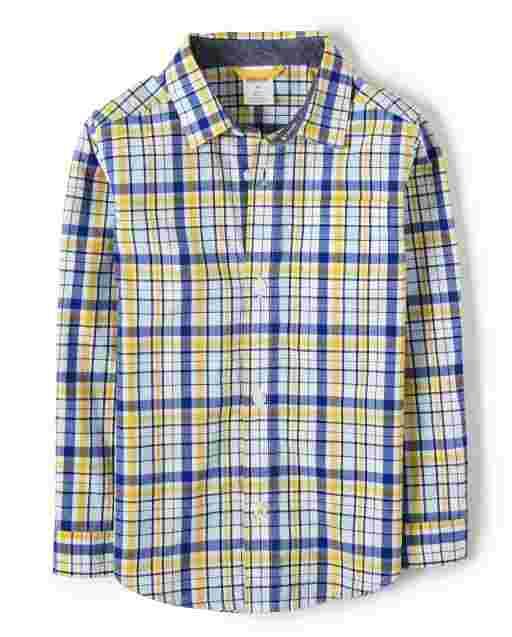Boys Long Sleeve Plaid Poplin Button Up Shirt - Lil Champ