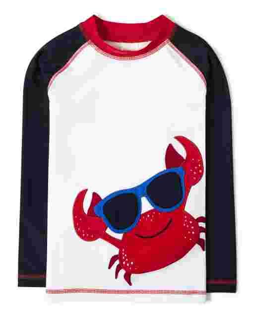 Boys Long Raglan Sleeve Embroidered Crab Rashguard - All Aboard