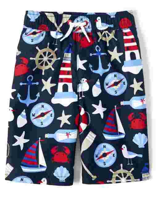 Boys Nautical Print Swim Shorts - All Aboard