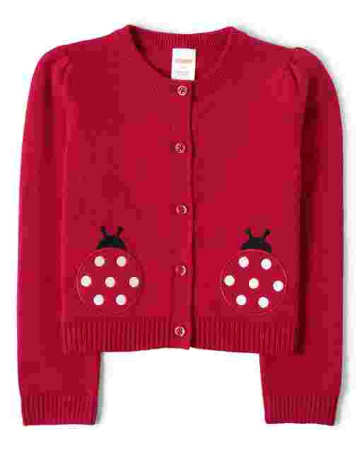 Girls Long Sleeve Applique Ladybug Cardigan - Little Ladybug