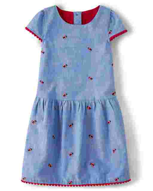 Girls Short Sleeve Embroidered Ladybug Print Chambray Dropped Waist Dress - Little Ladybug