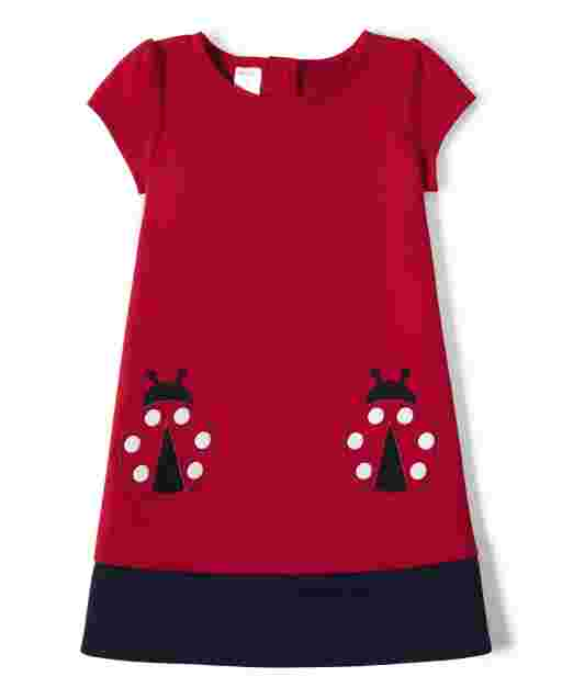 Girls Short Sleeve Ladybug Patch Ponte Knit Shift Dress - Little Ladybug