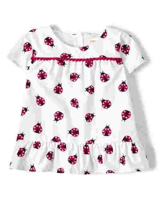 Girls Short Sleeve Ladybug Print Poplin Peplum Top - Little Ladybug