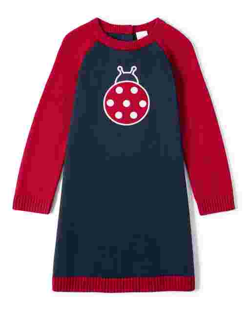 Girls Long Sleeve Intarsia Ladybug Knit Sweater Dress - Little Ladybug