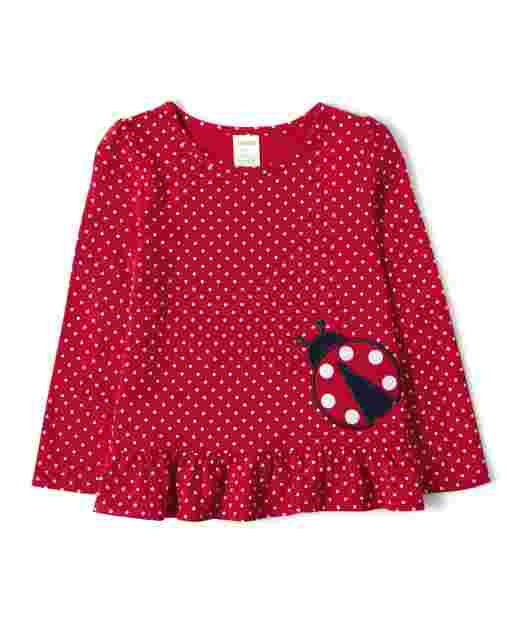 Girls Long Sleeve Ladybug Graphic Polka Dot Print Peplum Top - Little Ladybug