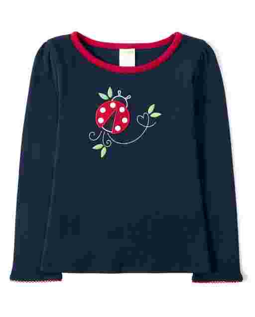 Girls Long Sleeve Embroidered Ladybug Top - Little Ladybug