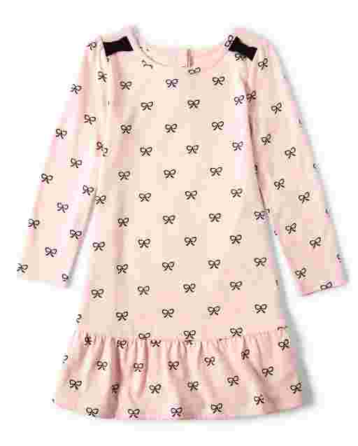 Girls Long Sleeve Bow Print Knit Peplum Dress - Puuurfect In Paris