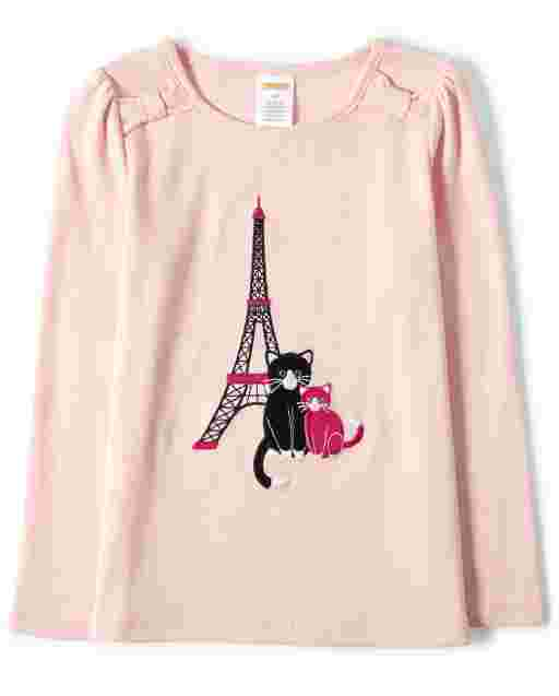 Girls Long Sleeve Embroidered Eiffel Tower Cat And Bow Top - Puuurfect Paris