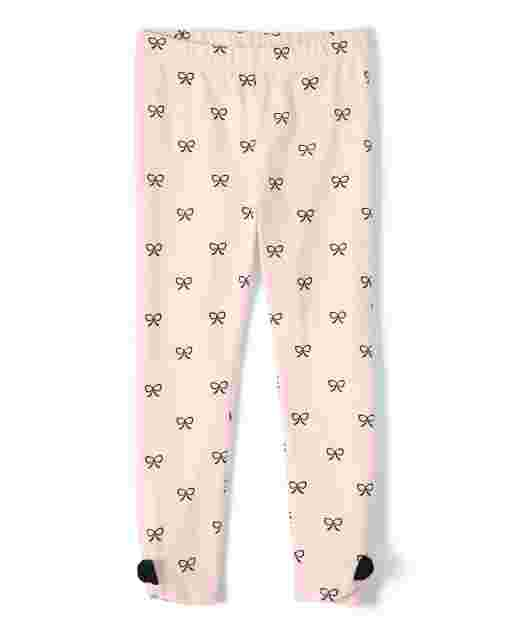 Girls Bow Print Knit Leggings - Puuurfect In Paris