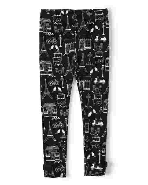 Girls Eiffel Tower Print Knit Bow Leggings - Puuurfect In Paris