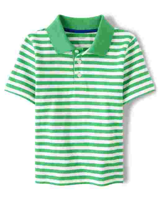 Boys Short Sleeve Striped Polo - Country Club