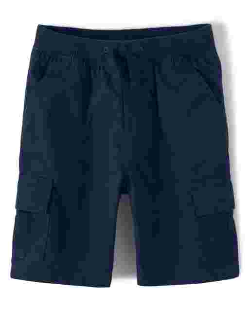 Boys Poplin Knit Waist Pull On Shorts