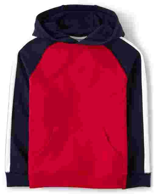 Boys Long Raglan Sleeve Colorblock Hoodie