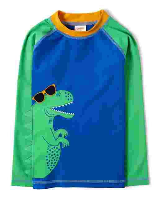 Boys Long Raglan Sleeve Dino Spike Rashguard - Hello Dino