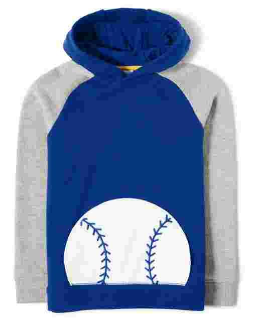 Sudadera con capucha de felpa francesa de béisbol de manga larga para niños - Lil Champ
