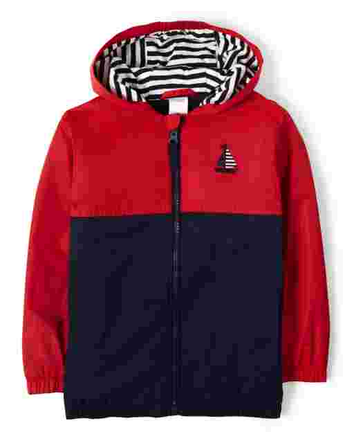 Boys Long Sleeve Embroidered Sail Boat Colorblock Windbreaker - All Aboard