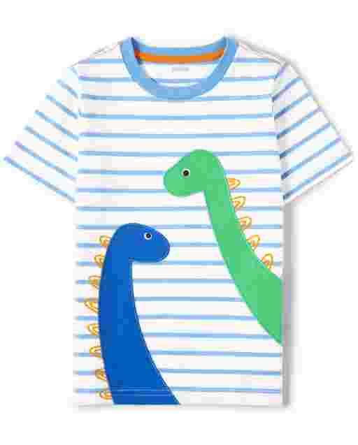 Boys Short Sleeve Embroidered Dino Striped Top - Hello Dino