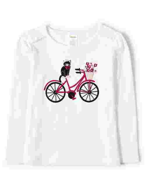 Girls Long Sleeve Embroidered Bike Cat Top - Puuurfect In Paris