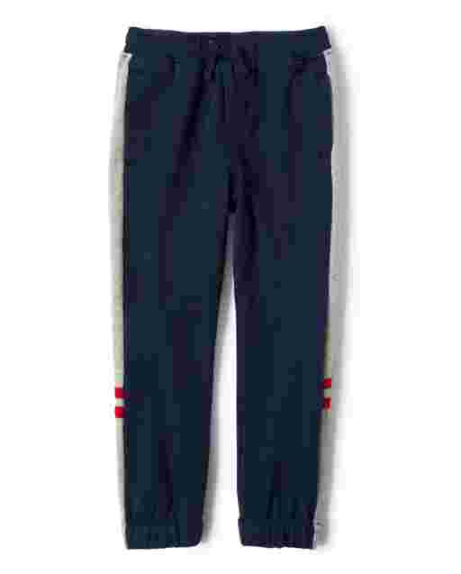 Boys Side Stripe French Terry Jogger Pants - All Aboard
