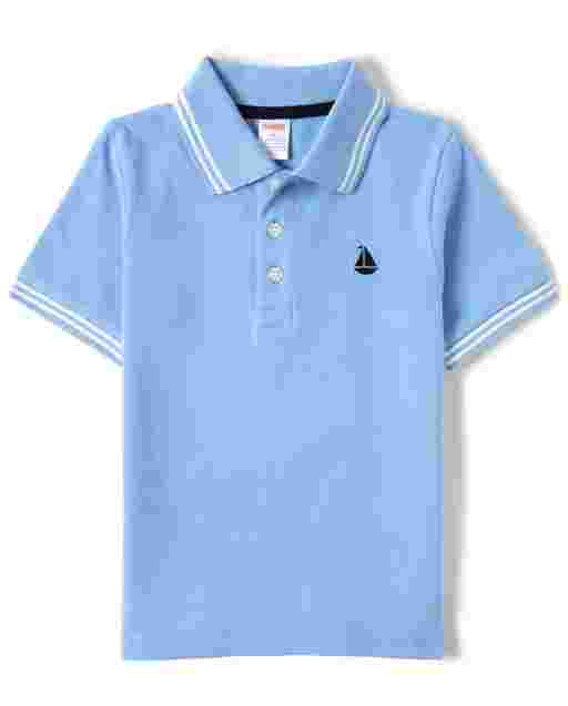 Boys Short Sleeve Embroidered Sail Boat Polo - Country Club