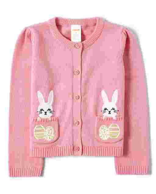 Girls Long Sleeve Embroidered Easter Egg And Bunny Cardigan - Garden Party