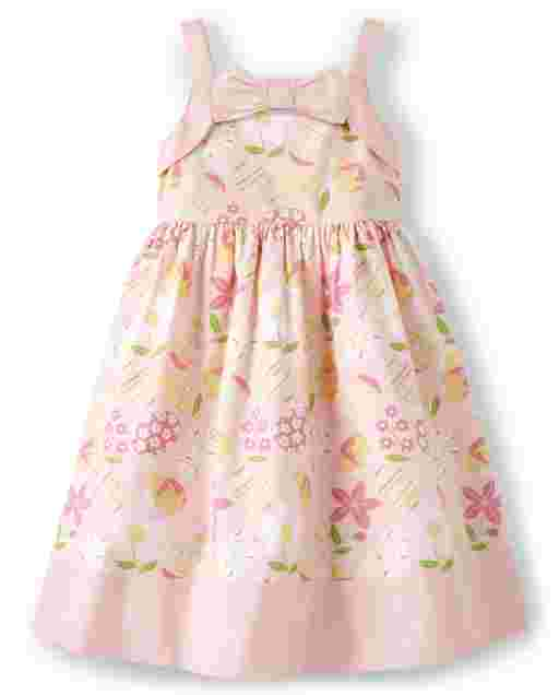 Girls Sleeveless Easter Egg And Flower Print Poplin Bow Dress - Garden Party