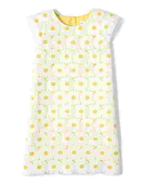 Girls Short Ruffle Sleeve Embroidered Daisy Lace Shift Dress - Garden Party