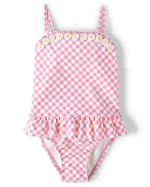 Girls Sleeveless Embroidered Daisy Gingham Print One Piece Swimsuit - Garden Party