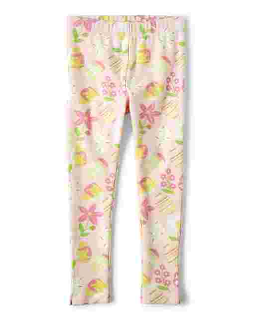 Girls Easter Egg And Flower Print Knit Leggings - Garden Party