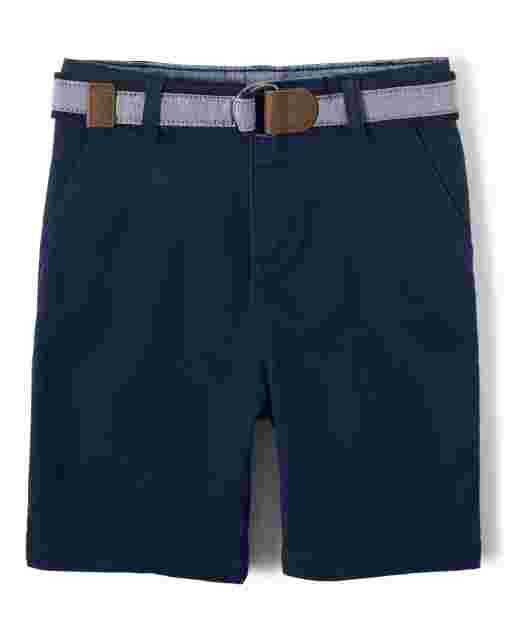 Boys Belted Woven Chino Shorts - Country Club