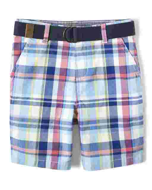 Boys Plaid Belted Woven Chino Shorts - Country Club