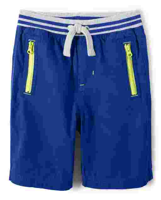 Boys Poplin Pull On Zipper Shorts - Future Astronaut