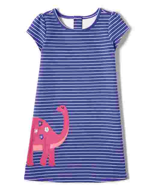 Girls Short Sleeve Embroidered Dino Striped Ponte Knit Shift Dress - Hello Dino