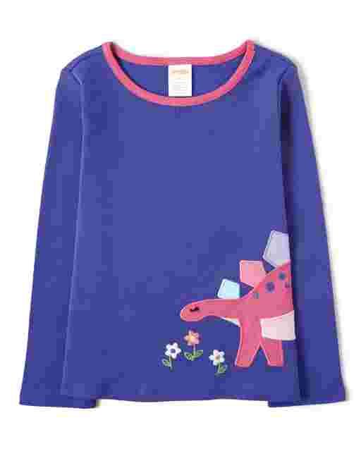 Girls Long Sleeve Embroidered Dino Top - Hello Dino