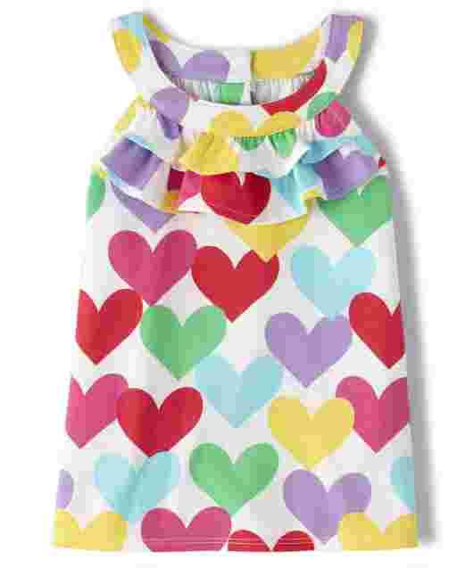 Girls Sleeveless Rainbow Heart Print Ruffle Top - Sunshine Time