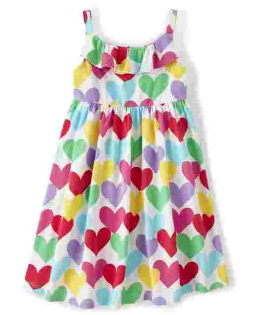 Girls Sleeveless Rainbow Heart Print Knit Ruffle Dress - Sunshine Time